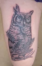 Grey Owl And Feather Tattoos