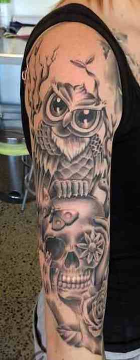 Grey Owl And Skull Tattoos On Right Sleeve