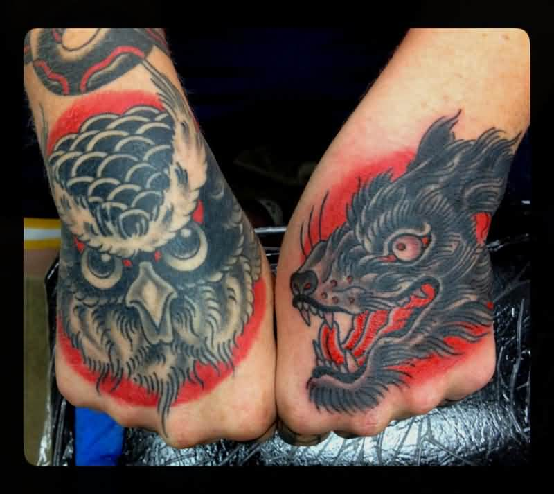 Grey Owl And Wolf Tattoos On Hands