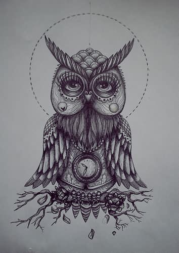 Grey Owl Clock Tattoo Design