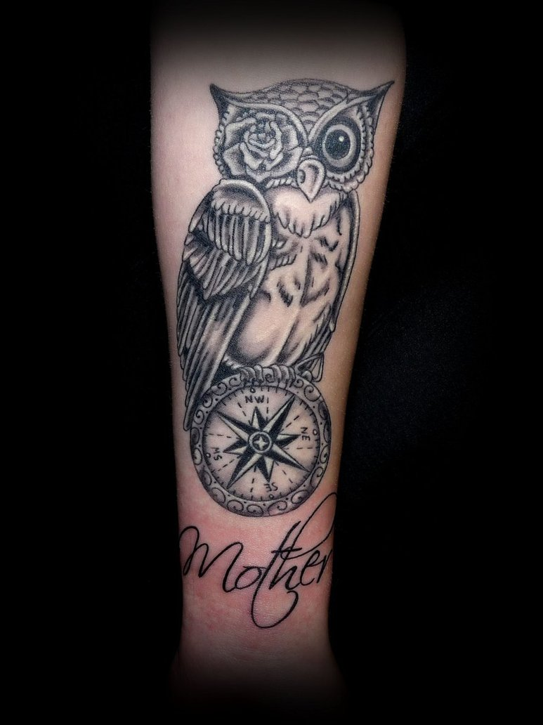 Grey Owl Compass And Mother Tattoos