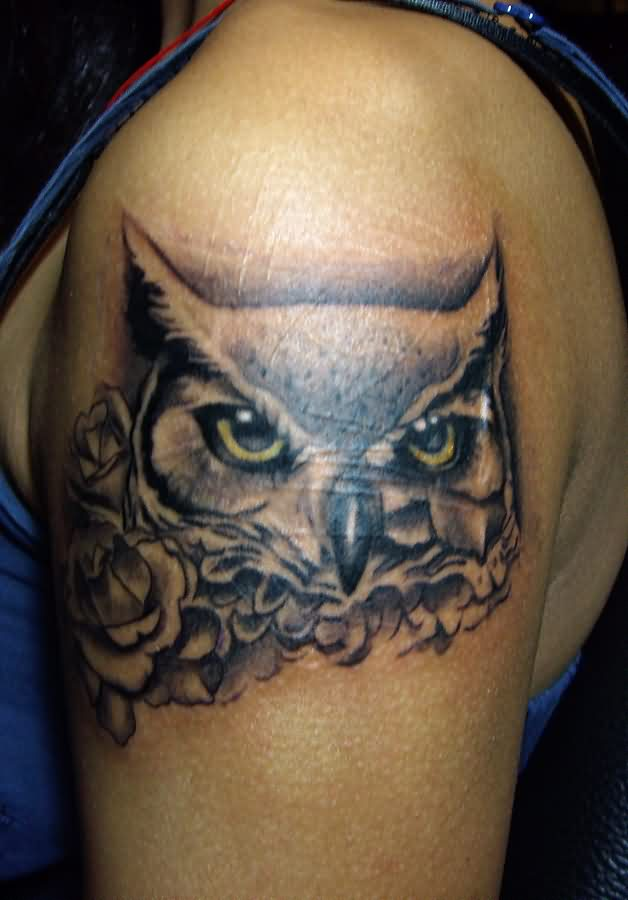Grey Owl Head And Rose Tattoos On Biceps