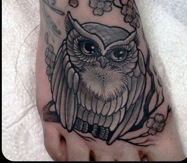 Grey Owl On Blossoms Branch Tattoo On Foot