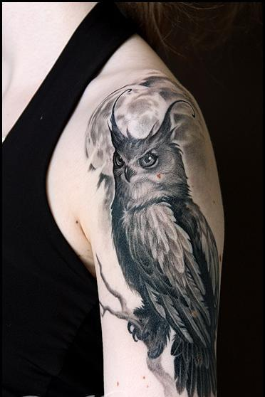 Grey Owl On Branch Tattoo On Arm