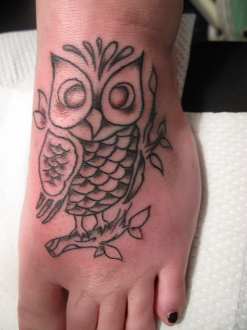 Grey Owl On Branch Tattoo On Foot