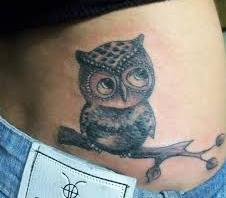 Grey Owl On Branch Tattoo On Waist