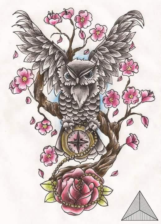 Grey Owl On Cherry Blossom Tree Tattoo Design
