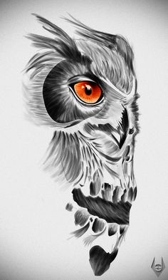 Grey Owl Skull Face Tattoo Design