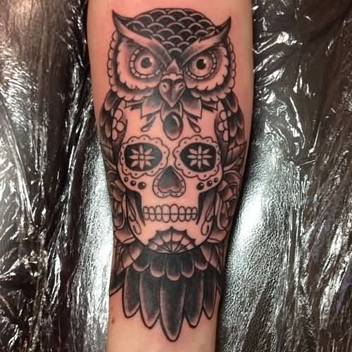 Grey Owl Sugar Skull Tattoo