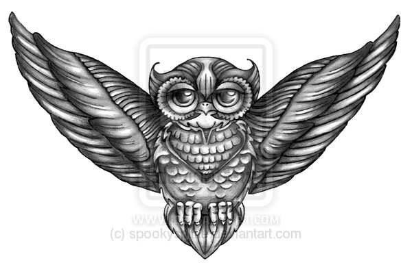 Grey Owl Tattoo Design For Chest