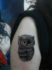 Grey Owl Tattoo On Biceps