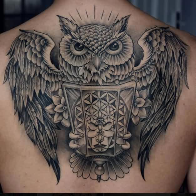 Grey Owl Tattoo On The Back
