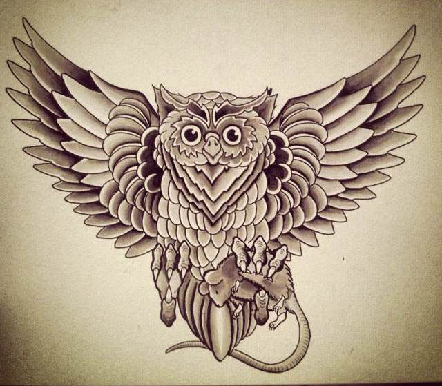Grey Owl With Rat Tattoo Design
