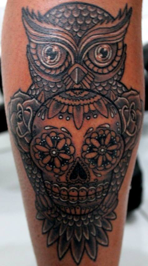 Grey Owl With Sugar Skull And Rose Tattoos