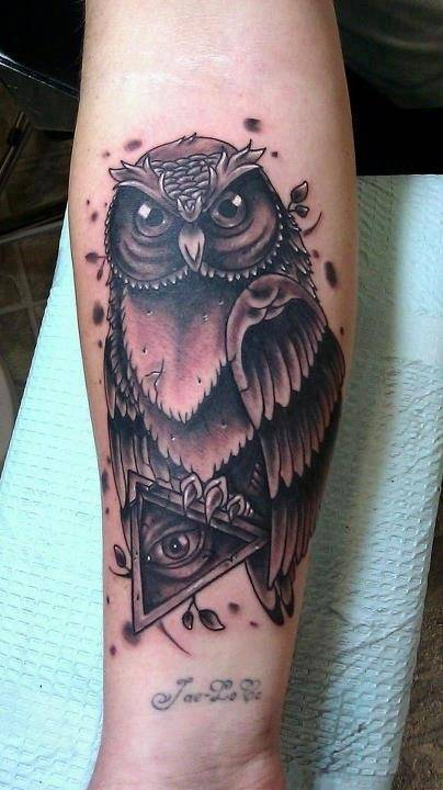 Grey Owl With Triangle Eye Tattoos