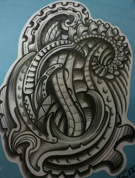 Grey Polynesian Biomechanical Tattoo Design