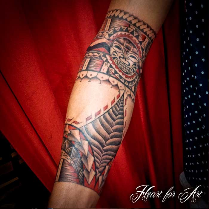 Grey Polynesian Tattoos On Forearm