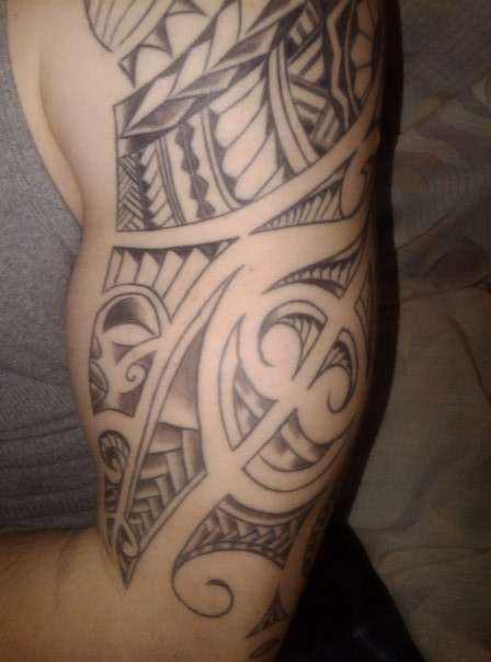 Grey Polynesian Tattoos On Half Sleeve