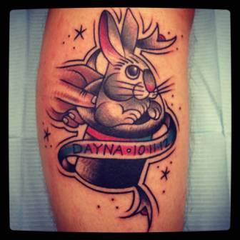 Grey Rabbit In Magician Hat Tattoo