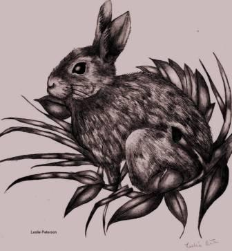 Grey Rabbit Tattoo Flash