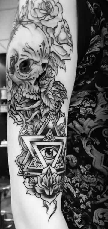 Grey Roses Skull And Eye Triangle Tattoos On Arm