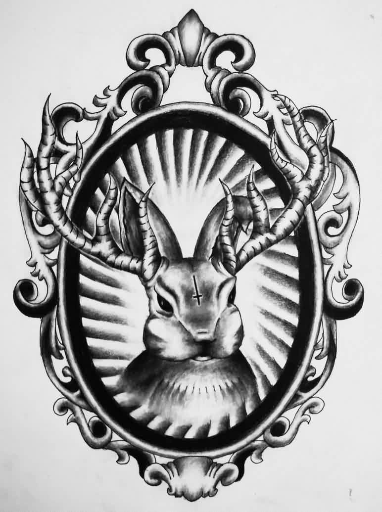 Grey Satanic Rabbit Tattoo Design