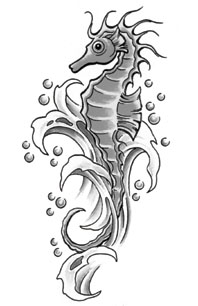Grey Seahorse In Waves Tattoo Design