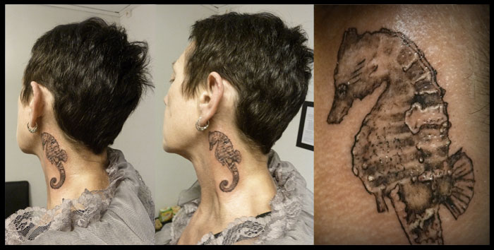 Grey Seahorse Neck Tattoos For Guys