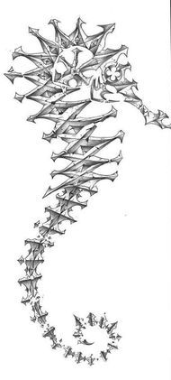Grey Seahorse Skeleton Tattoo Design