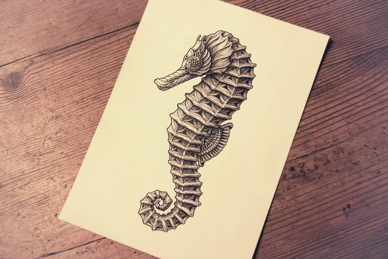 Grey Seahorse Tattoo Page