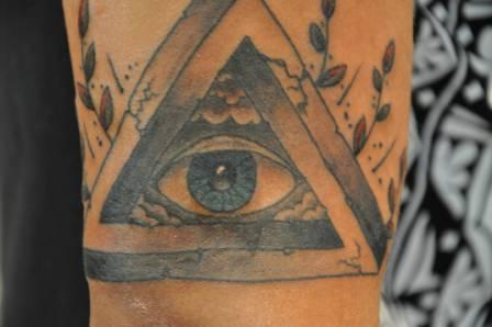 Grey Triangle With Eye Tattoo