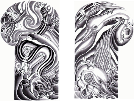 Grey Water Waves Swan Snake Shoulder Suit Tattoo Design