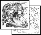 Grey Waves Skull Tattoo Design