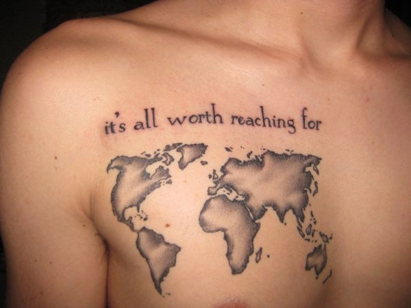 Grey World Map Tattoo On Chest