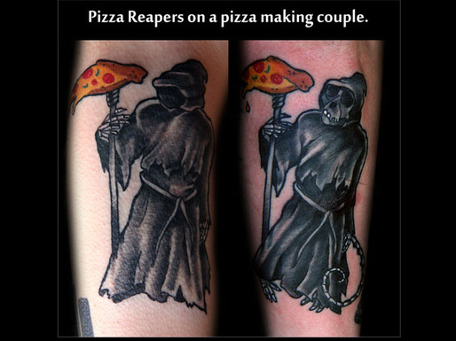 Grim Reaper Pizza Tattoo