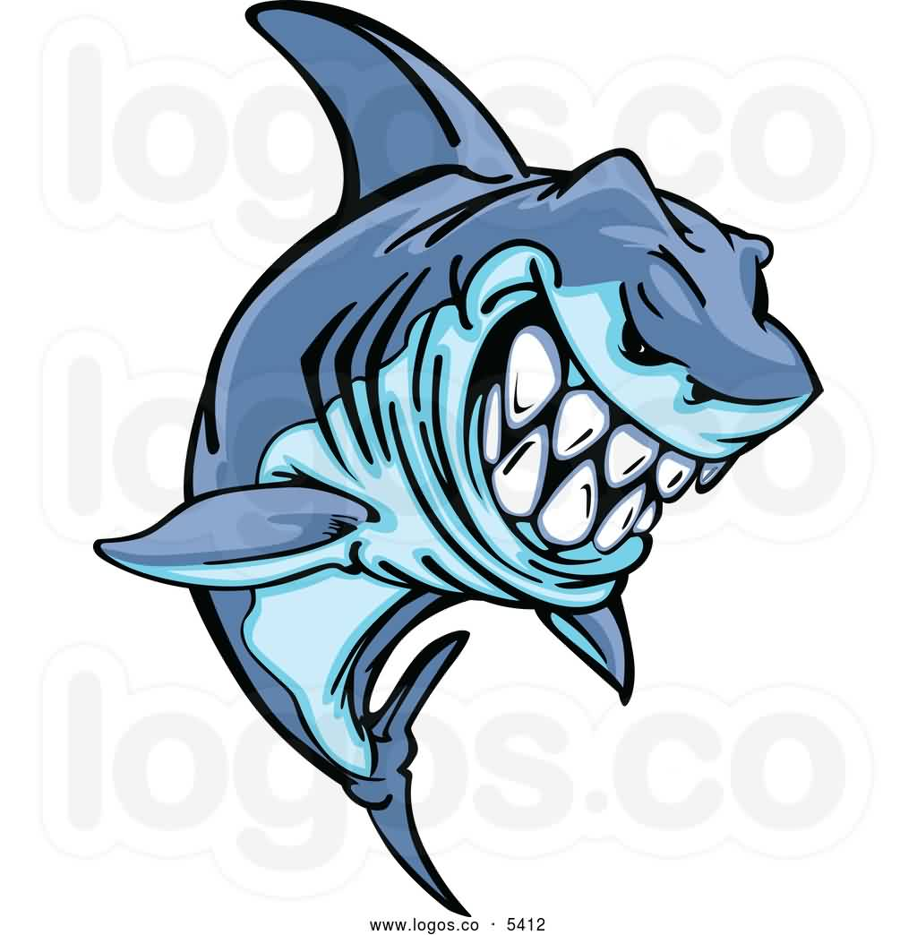 Grinning Aggressive Blue Shark Tattoo Design