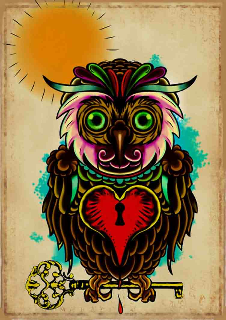 Guardian Owl On Key Tattoo Poster