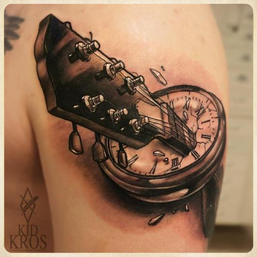 Guitar In Clock Tattoo
