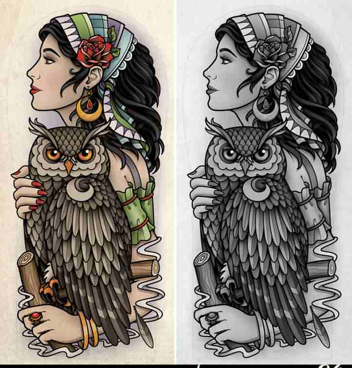 Gypsy And Owl Tattoo Designs