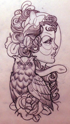 Gypsy Owl And Rose Tattoos Designs