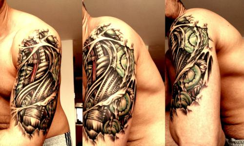 Half Sleeve 3D Biomechanical Tattoo Style