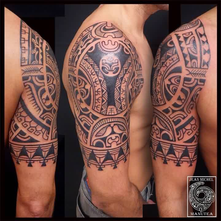 Half Sleeve Black Polynesian Tattoos For Men