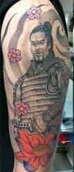 Half Sleeve Japanese Warrior Tattoo