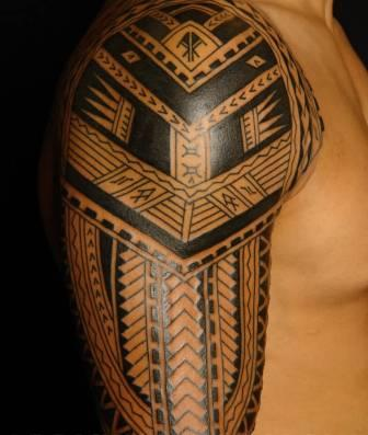 Half Sleeve Of Black Polynesian Tattoos