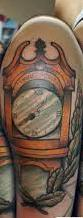 Half Sleeve Of Grandfather Clock Tattoos For Guys
