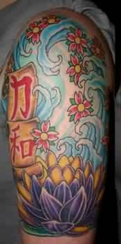 Half Sleeve Of Japanese Lotus Cherry Blossoms And Wave Tattoos