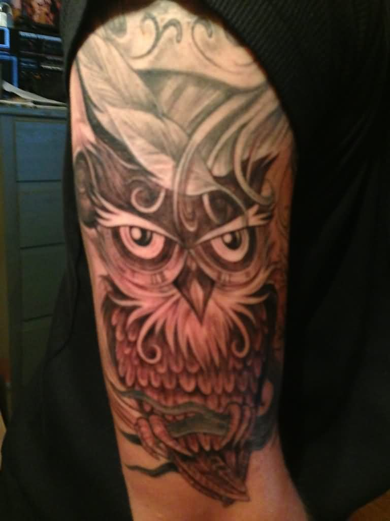 Half Sleeve Of Owl Tattoo