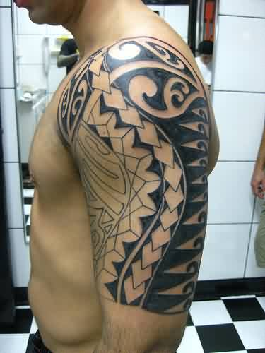 Half Sleeve Of Polynesian Tattoos