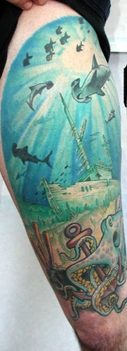 Half Sleeve Of Shark World Tattoos (2)