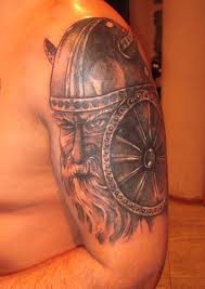 Half Sleeve Old Viking Warrior Tattoo